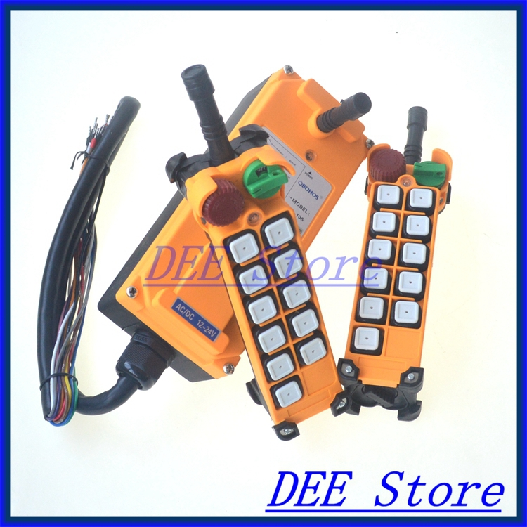 10 channels 1 Speed 2 transmitters Hoist Crane Remote Control Push Button Switch System Emergency-Stop
