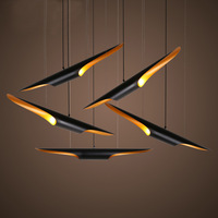 Aircraft chandelier Nordic living room bar coffee shop complex floor shaped aluminum tube bamboo chandelier DIA6*L60CM AC90 240V