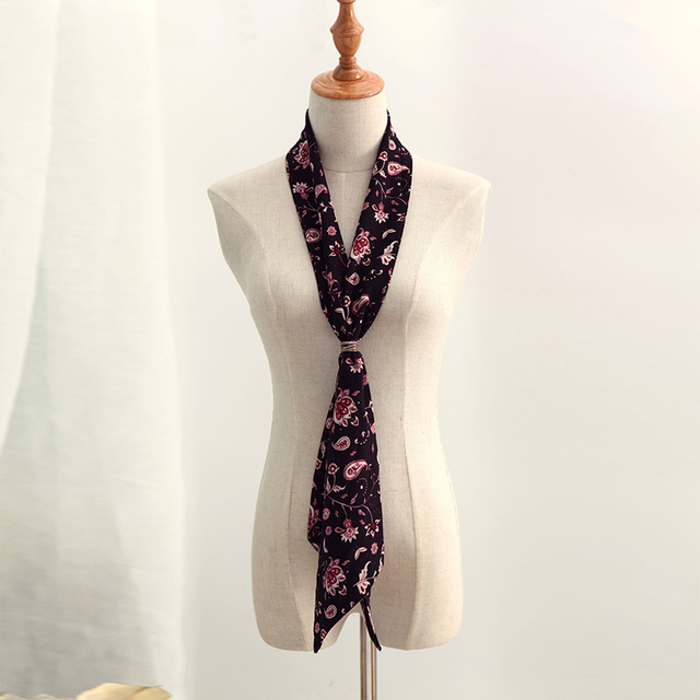 Flowers Print Narrow Scarf | Neck Scarves | Up to 60% Off Now
