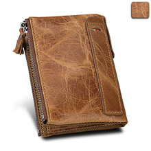 Mens Small Wallet Mini Bag Women Genuine Leather Short Fund Brush Man Zipper Purse Men Wallets And Purses Womens Handbag