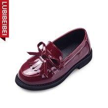 Spring New Children Tassel Casual Shoes Bowtie Leather Girls Shoes Princess Chaussure Petite Fille d'Honneur Kids Shoes KS105
