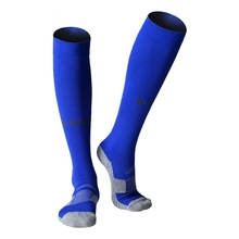 R-BAO Cotton Men 8 Colors One Pair Long Soccer Socks Non-slip Sport Football Ankle Leg Shin Guard Compression Protector