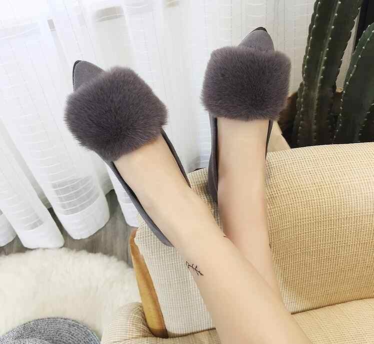 Konijn haar Winter Bont Vrouwen Loafers puntschoen Slip op Platte Schoenen Warme Bootschoenen Comfortabele Kudde Vrouw Flats Zapatos mujer