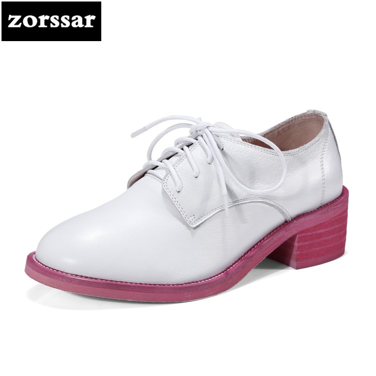 {Zorssar} 2018 new Genuine Leather fashion womens shoes heels round toe Slip-on Shallow High heels pumps ladies Oxford shoes zorssar 2018 new fashion buckle genuine leather thick heel womens shoes heels square toe high heels pumps ladies office shoes