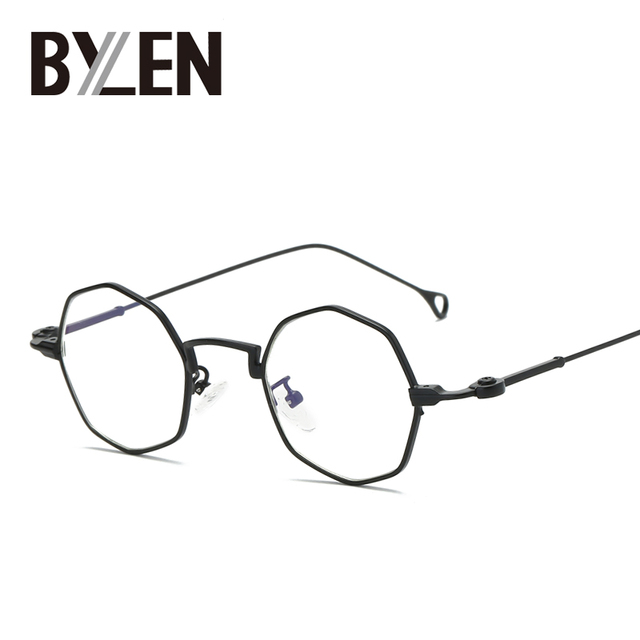 cbf1351ba6f BYLEN Retro Small Metal Frame Octagon Glasses Frames Steampunk Polygon High  Quality Eyeglass Brand Clear Optical
