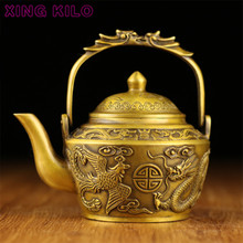 цены XING KILO Retro Palace Pure Copper Dragon and Phoenix Wine Pot Decoration Copper Pot Teapot embossed dragon pattern collection