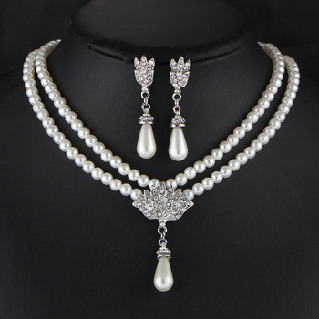 European and American Pearl crystal temperament jewelry Set 1