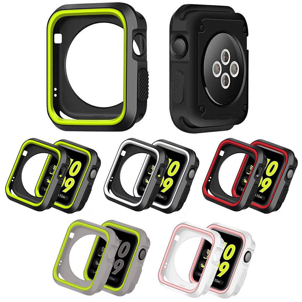 Silicone Bumper For Apple Watch 5 Case 44mm 40mm IWatch Case 42mm/38mm Soft Protector Cover Apple Watch 4 3 2 1 Accessories 44