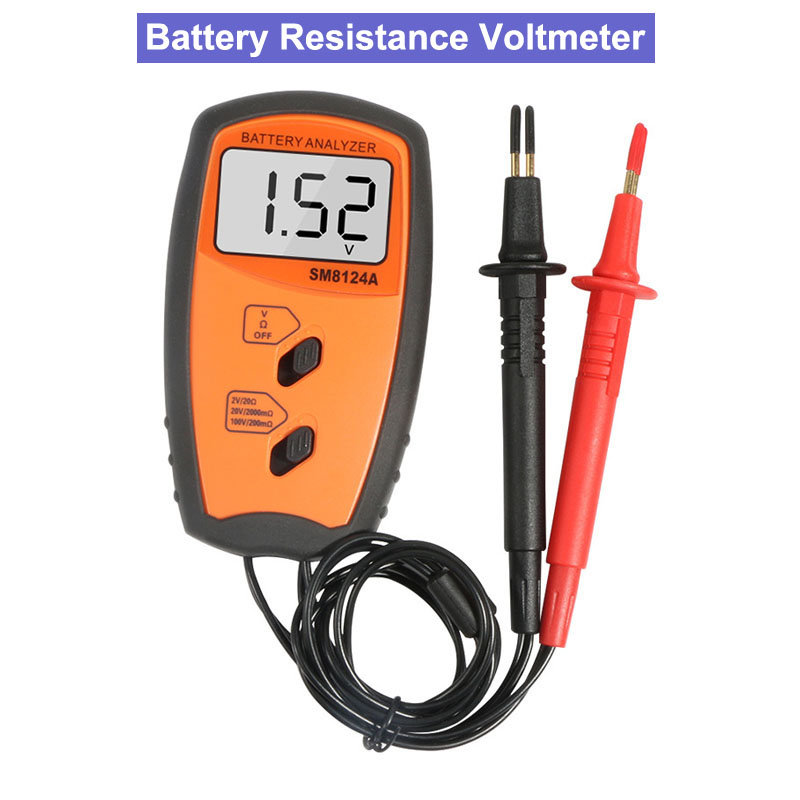 SM8124A Battery Resistance Voltmeter Internal Impedance Meter LCD Rechargeable Battery Impedance internal resistance Tester