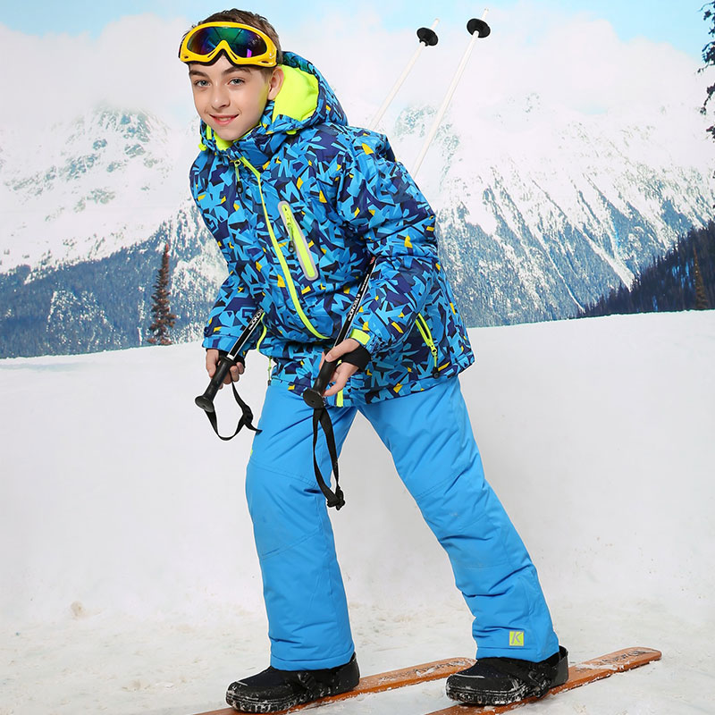 Kids Winter Blue Camouflage Snowsuit Children Outwear Jacket Pant Windproof Warterproof Boys Girls Snowboard Suit