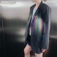 Tvvovwin Женский блейзер отражающий свет дамы Блейзер Куртка длинный рукав однобортный Блейзер женские длинные куртки костюм пальто V153
