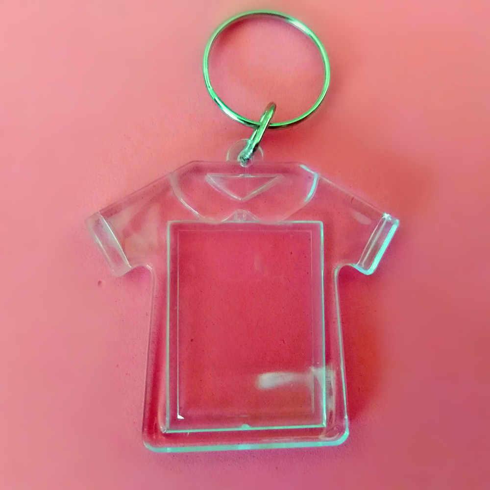 1 шт. одежда в форме прозрачный пустая Вставка Фото рамка брелок для ключей раздельный брелок
