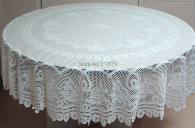 Merveilleux Polyester White Or Ivory Round And Rectangular New Rose Lace Tablecloths  For Wedding Decoration 82 Inch