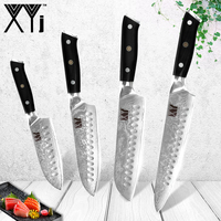 XYj Damascus Kitchen Knife VG10 Steel Blade Flower Nail Pattern Japanese Chef Knives Santoku Cleaver Vegetable Cutter Cook Tool