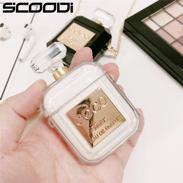 Luxury Brand Transparent perfume bottle Silicone Metal Chain Bluetooth Wireless Earphone Case For Apple AirPods 2 Headset H1