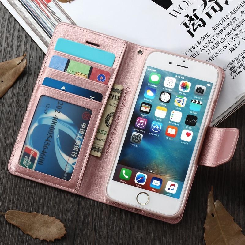 Hanman Original Luxury Magnetic Wallet Case for iPhone 6 6S 7 7Plus 5 5S SE Credit Card Flip Bag Cover for iPhone X 8 Plus