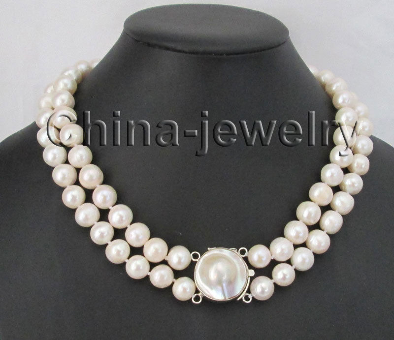 17-19 3row 10-11mm white round freshwater pearl necklace - 925 mabe
