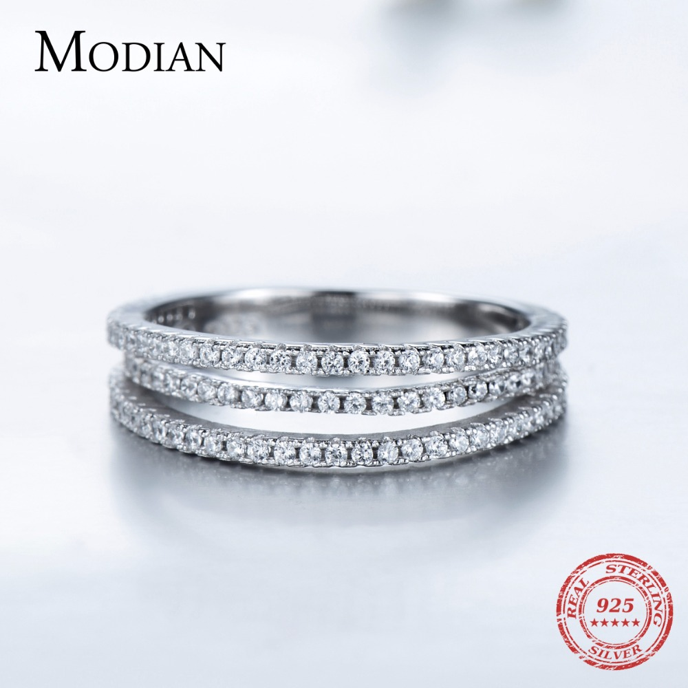 Modian Authentic Solid 925 Sterling Silver Line Simple Fashion Ring Classic Elegant Finger Jewelry For Women Wedding Love Gift