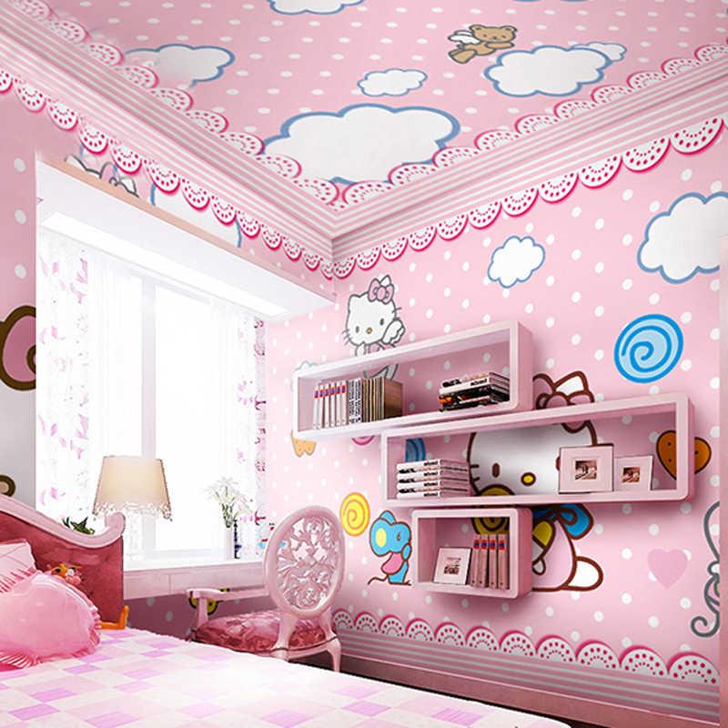 Children S Room Wallpaper Pink Girl Baby Bedroom Bedside Background Wall Paper Hello Cute Cat Cartoon Princess Large Mural 3d Aliexpress