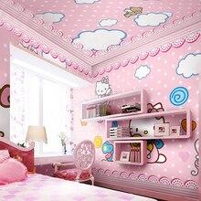 Children's room wallpaper pink girl baby bedroom bedside background wall paper hello cute cat cartoon princess large mural 3d цена 2017