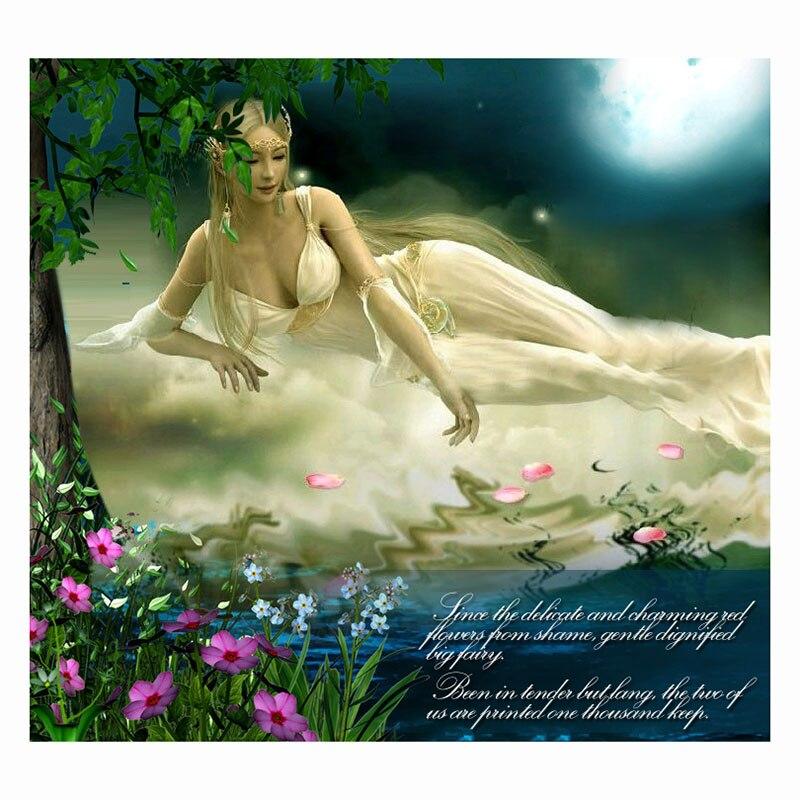 Zlatá panna, Vyšívání, DIY DMC Cross Stitch, Sady pro vyšívání Sada 11ks vytištěné bavlněné nitky Fairy krásy Cross-Stitching