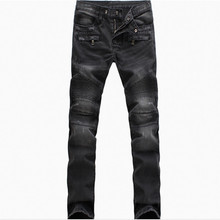 New Fashion jeans Pleated Ruched Draped Men Biker Jeans Motorcycle Scratched Joggers Pants Denim Trousers Plus Size 40