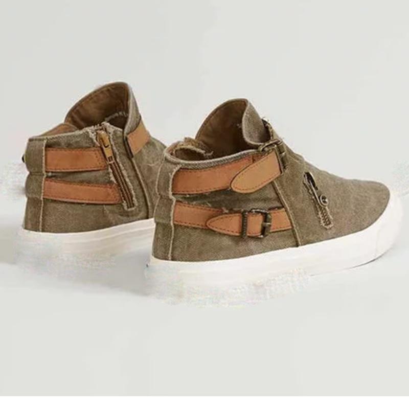 ผู้หญิง Vulcanize รองเท้ากลางแจ้งรองเท้าสุภาพสตรีแบนรองเท้าแฟชั่น Retro รองเท้าผ้าใบขนาด Plus