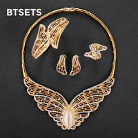 BTSETS African Beads Jewelry Set For Women Wedding Party Costume Jewellery Accessories Gold Color Bridal Necklace