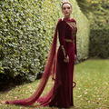 New Arrival Long Sleeve Burgundy Velvet Celebrity Dresses 2017 Gold Appliques With Tulle Sweep Train Evening Prom Dress