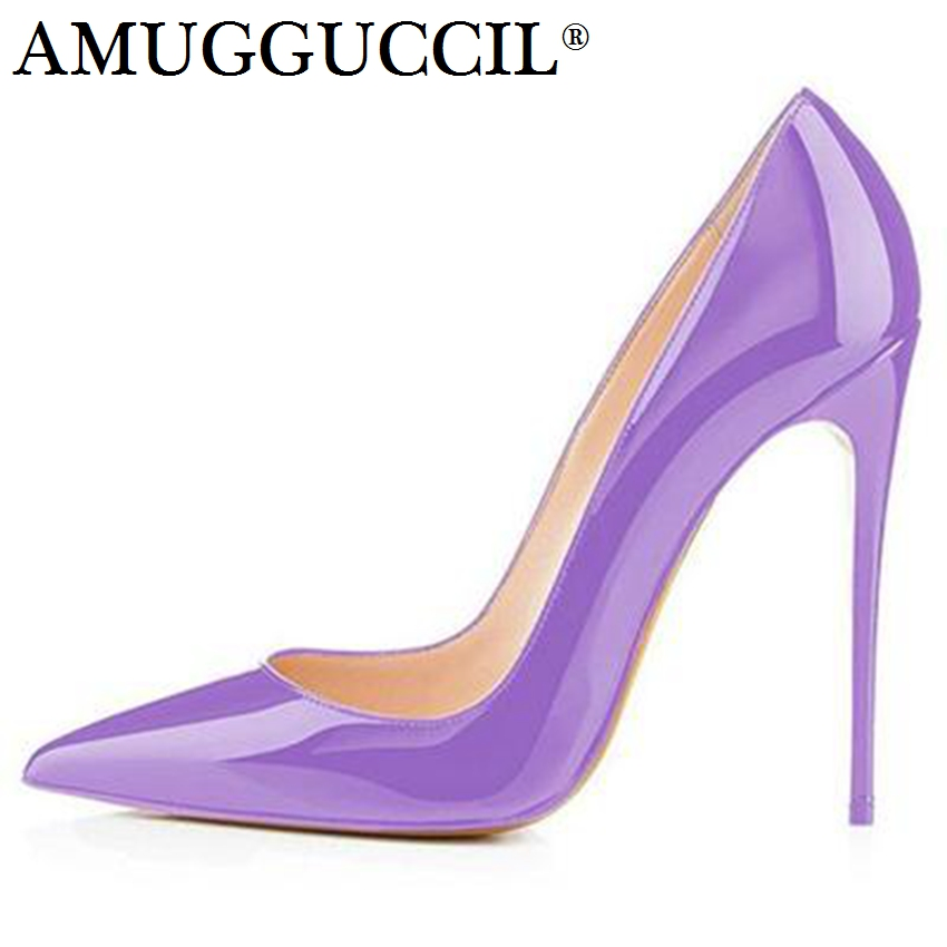 2019 New Plus Big Size 35 47 Pink Green Purple Fashion Sexy High Heel Spring Summer Female Ladies Shoes Women Pumps D1216