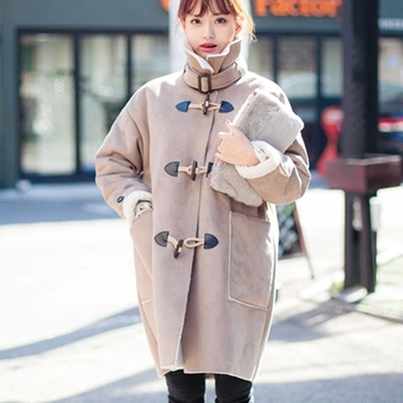 Thicken New Female Cotton Coat Suede Fabric Lamb Wool Wide-waisted Overcoat Turn-down Collar Horn Button Outwear Women MY0063 winter autumn women wool cotton fur coat jacket female turn down collar double buttons warm thicken coat long lamb outwear