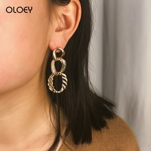 OLOEY New 2019 Bohomian Long Earrings For Women Fashion Irregular Geometric Alloy Drop Party Jewelry Gifts