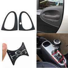 3D Carbon Fiber Door Handle Cover 3D Gel Gear Shift Knob Panel Protector Car Sticker For Benz Smart Fortwo 451 Brabus 2007-2014(China)