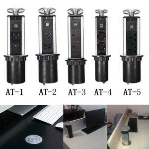 Внешняя быстрая доставка, скрытый кухонный стол, всплывающее электрическое гнездо, выходное питание, 1 светодиод + 2 зарядки USB, алюминиевая п...