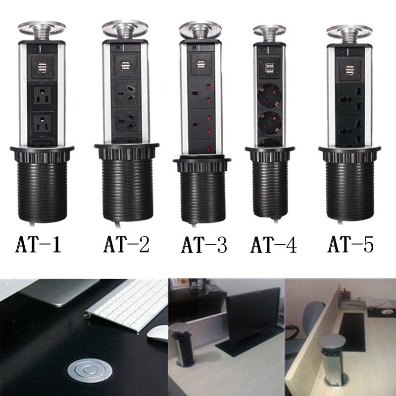 OVERSEA fast shipping Hidden <font><b>Kitchen</b></font> Table Pop <font><b>Up</b></font> Electrical Socket Outlet Power 1 Led+2 charge USB Aluminum Shelf Silver/Black