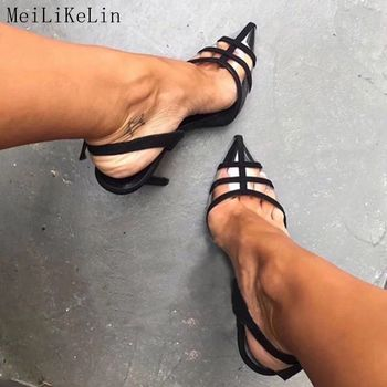 цена на MeiLiKeLin Sexy Closed Pointed  Clear Sandals High Heels Ladies Party Shoes Womens Heels Ankle Buckle Pumps Thin Heel Sandales