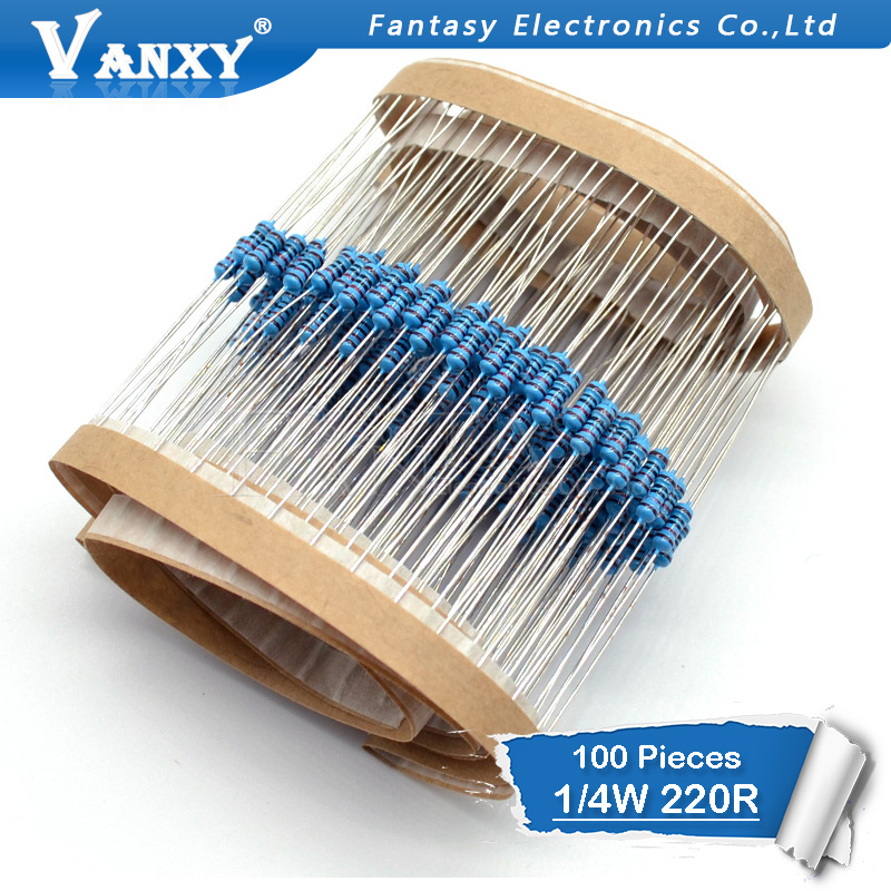 100PCS 220 Ohm 220R 1/4W Metal Film Resistor  1%