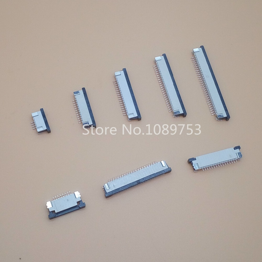 10pcs FFC / FPC connector 1.0mm 4 Pin 6 8 9 10 12 14 16 18 20 22 24 26 30P Bottom Contact Right angle SMD / SMT ZIF