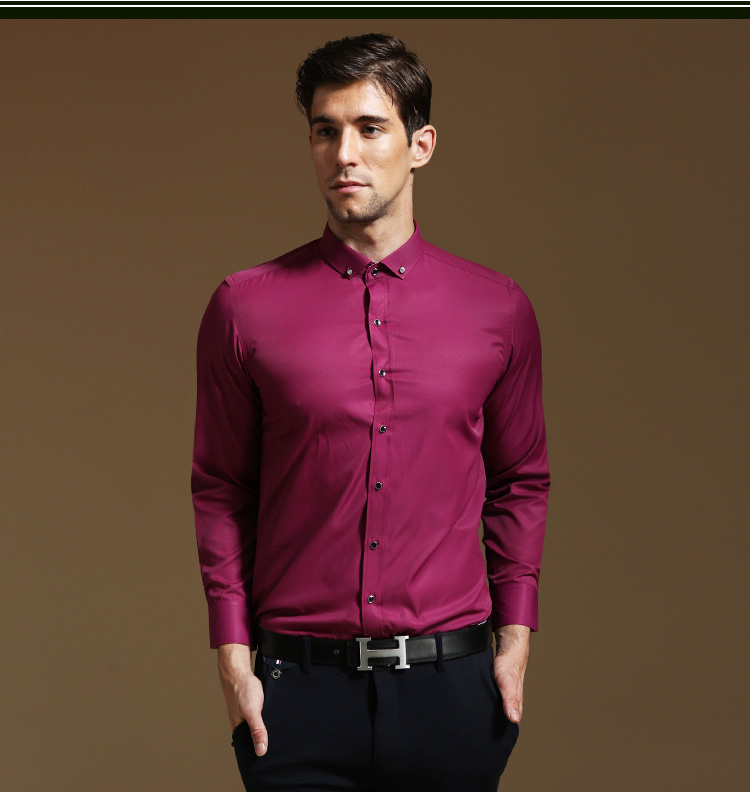 New Rose Red Fashion Decoration Ons Shirts High Quality Men Shirt Business Casual Wedding Party Free Shipping In From S Clothing