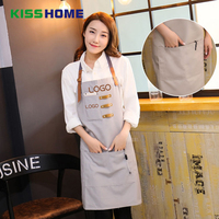 Fashion Simple Cofffee Shop Apron 3 Color Couple Lovers Customized Polyester Aprons with Pocket for Kitchen Restaurant Canteen