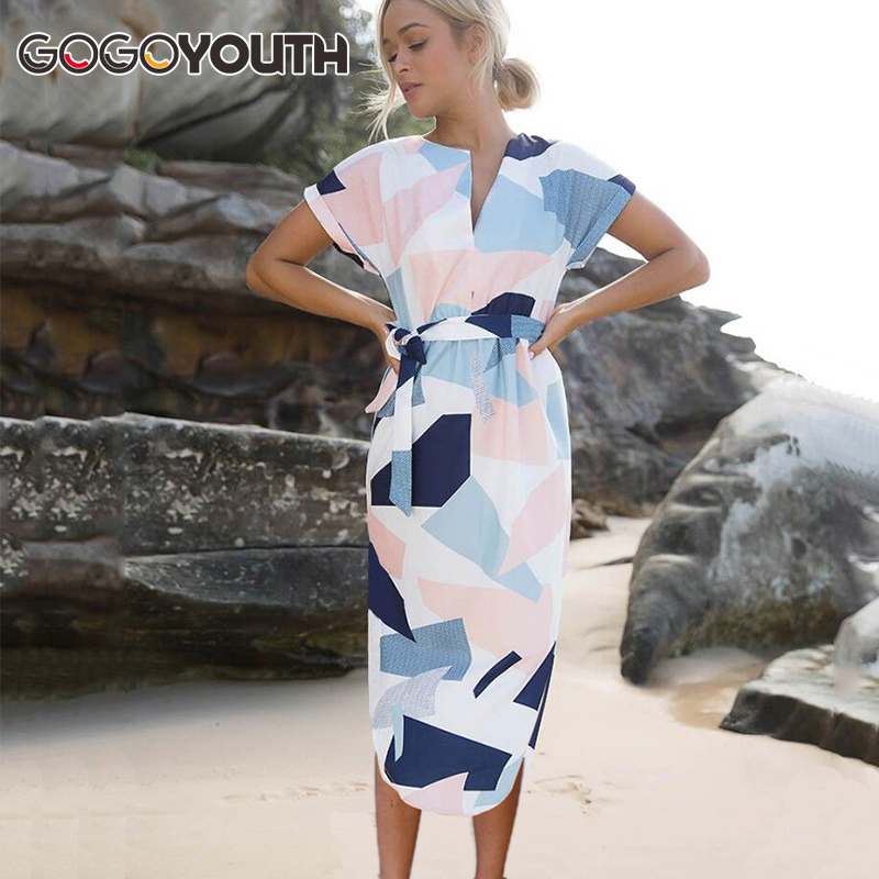 Gogoyouth Plus size Summer Dress Women 2018 Short Sleeve Patchwork Big Sundress Tunic Beach Party Dress Midi Long Robe Femme 2