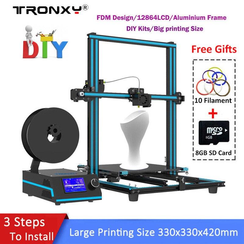 2018 Tronxy 3D Printer kit DIY 3 steps Fast Assembled Aluminium Extrusion 3D Printing Size 330x330x420mm High Precision Extruder upgarded aluminium cube 3d printer kits bapasco x5 full metal extrusion high precision 12864p lcd big printing size 210 210 280
