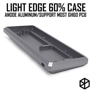 Borda clara 60% caixa de alumínio anodizado ou caso acrílico para teclado mecânico roxo cinza fosco acrílico para gh60 xd64 gk61