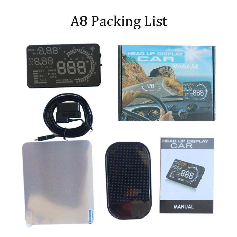 OBD2 HUD Car Head Up Display 5.5' A8 LED Windscreen Projector OBD Scanner Speed Fuel Warning Alarm Data Diagnostic Tool 4' D2000 3