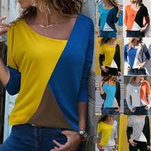 Loneyshow 2018 Autumn T-Shirt Women Casual Skew Collar Long Sleeve Shirt Fashion Patchwork T-Shirts Basic Tops Tee