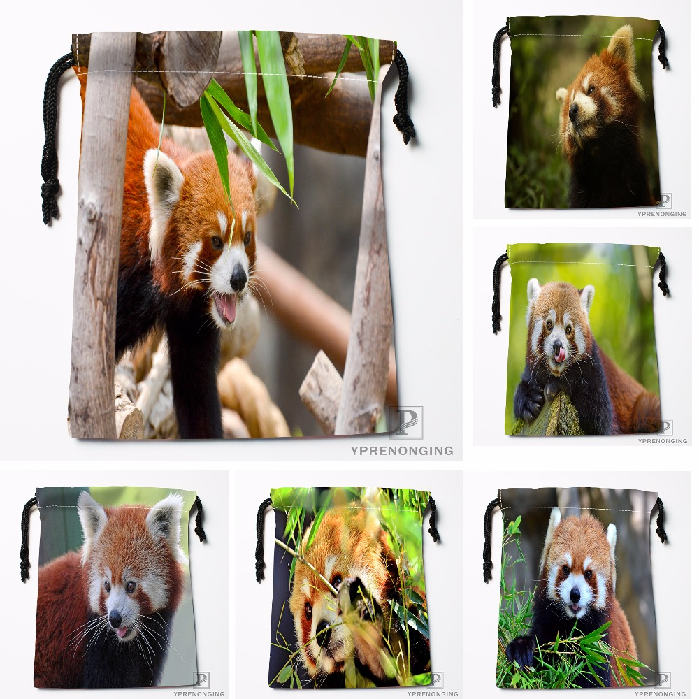 Custom Beauty Red Panda Sticking Out Tongue Drawstring Bags Travel Storage Mini Pouch Swim Hiking Toy Bag Size 18x22cm#412-04-07