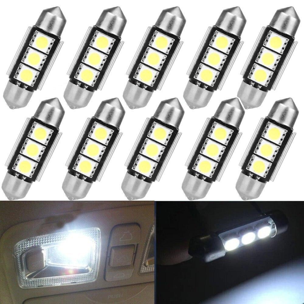 10pcs Car Auto CANBUS Festoon Dome Reading head lights Error Free 3 LED 5050 SMD 6418 C5W License Plate led Light Bulb 36mm 39mm резистор kiwame 2w 470 kohm