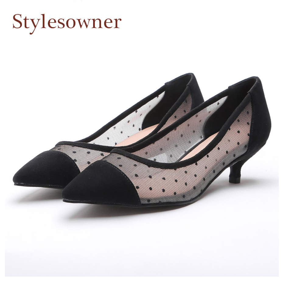 Stylesowner fashion polka dot air mesh mix suede women pumps sexy pointed toe kitten heels breathable ladies spring summer shoes minika fashion air mesh shoes women breathable