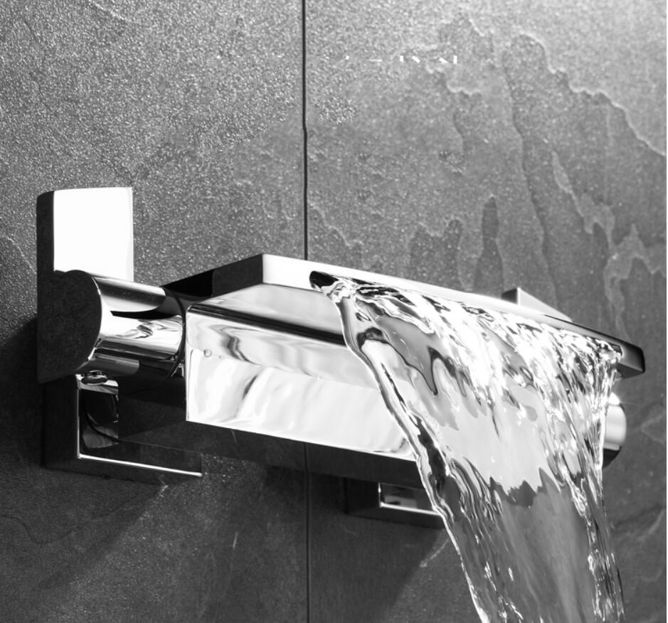 Wall Mounted Brass Bathroom Gold Waterfall Bathtub Faucet set Square hand held Shower Faucet Sets Bathtub Faucet Set