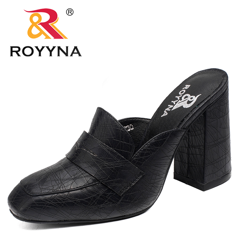 ROYYNA New Arrival Fashion Style Women Slippers Outdoor Walking Summer Shoes High Square Heels Comfortable Fast Free Shipping royyna new sweet style women sandals cover heel summer gingham women shoes casual gladiator ladies shoes soft fast free shipping